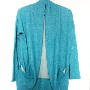 Bluenotes   Turquoise Open Front Cardigan